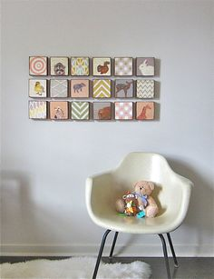 Nursery Art Block 5x5 Nine 9 Set Animals by redtilestudio on Etsy, $250.00