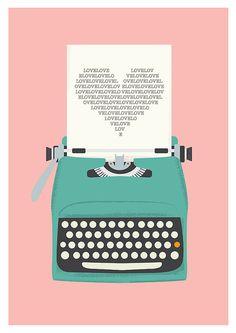 Love poster Pink wall art Vintage typewriter heart print by handz