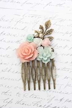 Floral Comb Wedding Flower Collage Coral Pink Rose White Mint Aqua Pearls Maid of Honor Gold Brass Leaf Leaves Bridal Hair Accessories