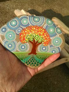 """Large Painted Rock ~ """"Path to Fall"""" ~ Colorful Dot Art on Stone ~Fall Leaves ~ Original Home Decor ~ Autumn Tree by P4MirandaPitrone on Etsy"""