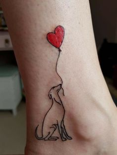 Dog and balloon Sweet Tattoos, Dog Tattoos, Body Art Tattoos, Small Tattoos, Tatoos, Greyhound Tattoo, Greyhound Art, Grey Hound Dog, Tattoo Fonts