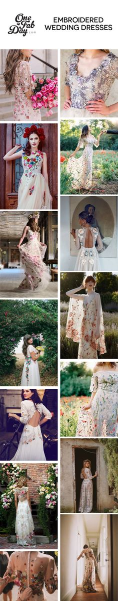Embroidered wedding dresses with wow factor. Colourful embroidery and delicate details make this pretty trend perfect for boho brides and brides who are tempted not to only wear white on their wedding day. Colored Wedding Dresses, Wedding Colors, Wedding Ideas, Boho Gown, Bridal Jumpsuit, Alternative Wedding Dresses, Hippie Dresses, Boho Bride, Wedding Bridesmaids