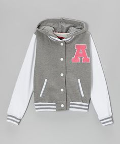 Gray Hooded Letterman Jacket - Girls by Cutie Patootie New Outfits, Cool Outfits, Casual Outfits, Hipster Fashion, Asian Fashion, Cute Jackets, Jackets For Women, Cheerleading Uniforms, Good Color Combinations