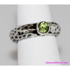 Silpada Artisan Jewelry Green Peridot Size 6 Oxidized Hammered 925 Sterling Silver Ring Retired Rare