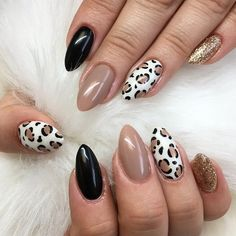 Leopard Nail Designs, Leopard Nail Art, Leopard Print Nails, Acrylic Nail Designs, Animal Nail Art, Fall Nail Art Designs, Fall Gel Nails, Fall Acrylic Nails, Fall Nail Ideas Gel