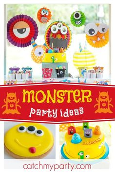 Check out this fun little monster themed birthday party! The table settings are awesome!! See more party ideas and share yours at CatchMyParty.com  #catchmyparty #partyideas #littlemonster #boybirthdayparty