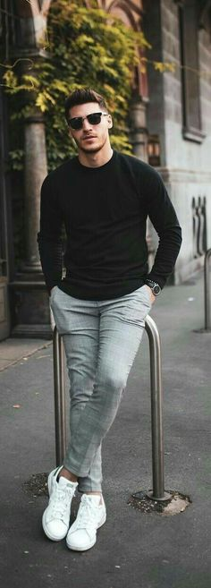 36 Ideas For Fashion Mens Fall Business Moda Masculina Sneakers Outfit Men, Sneakers Fashion, Sneakers Adidas, Adidas Fashion, Adidas Outfit, Adidas Men, Chinos Men Outfit, Adidas Dress, Trousers Fashion
