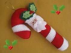 felt candy cane santa Christmas ornament