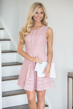 This stunning lace dress is made for a romantic day out with your significant other! We love the beautiful blush colored floral lace - it's such a delicate look!The lightweight material is perfect fo