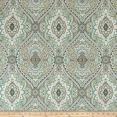 Swavelle/Mill Creek Purana Damask Breeze from @fabricdotcom  Screen printed on a linen/rayon blend this medium/heavyweight fabric is very versatile and perfect for window treatments (draperies, valances, curtains, and swags), toss pillows and upholstery. Colors include ivory, grey, green, and blue.