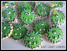 Coastal Cookie Shoppe (was east coast cookies) Fall Cookies, Cookies For Kids, Iced Cookies, Cute Cookies, Cupcake Cookies, Biscuit Cookies, Monster Party, Monster Birthday Parties, Cookie Monster
