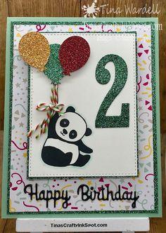 Celebrate with party pandas - Kindergeburtstagskarten - Baby Birthday Card, Birthday Cards For Boys, Bday Cards, Handmade Birthday Cards, Happy Birthday Cards, Diy Birthday, Card Ideas Birthday, Birthday Card Making, Birthday Souvenir