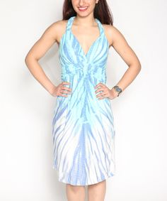 Look at this Turquoise Tie-Dye Empire-Waist Dress - Plus on #zulily today!