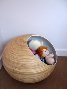 Cool toy storage - and when you don't want to see them, spin it around.