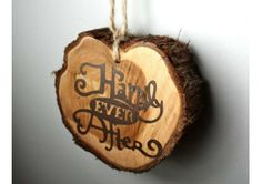 Rustic Wedding Favor, Decor, Ornament, Happily Ever After, approx diameter 3.75 inches - TheWeddingMile.com Rustic Wedding Favors, Cute Wedding Ideas, Fall Wedding, Our Wedding, Wedding Dress, Newlywed Gifts, Ever After, Holiday Decor, Dress Ideas