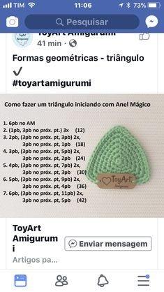 Figura geométrica - Salvabrani - See PicCrochet stitch symbols and types for different patterns in work Crochet Doily Rug, Crochet Eyes, Crochet Triangle, Diy Crochet, Crochet Crafts, Crochet Stitches, Crochet Projects, Diy Crafts, Crochet Classes