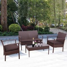 Costway 4 PCS Patio Rattan Wicker Furniture Set Loveseat Sofa Cushioned  Garden Yard