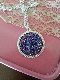 Druzy Magenta Charm Necklace Silver Large Purple Pendant Boho Fashion Jewelry
