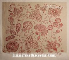 Elizabethan Blackwork Pannel  Historical by ArtEmbroideryDesigns