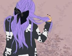 Tumblr | Pastel Goth | purple hair | black and purple | Pretty girl