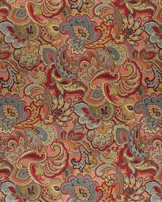 Aqua or Teal and Burgundy or Red or Rust and Coral or Orange or Persimmon and Dark Green and Gold or Yellow and Light Blue and Light Green color Floral and Foliage and Paisley pattern Brocade or Matelasse and Damask or Jacquard type Upholstery Fabric called K2424 by KOVI Fabrics