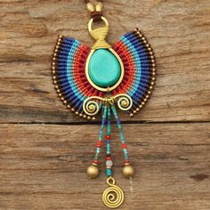 Woven wax cotton tribal pendant with turquoise by cafeandshiraz, $168.00