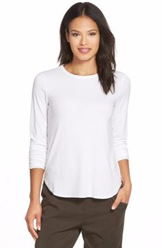 Eileen Fisher Crew Neck Long Sleeve Top Small $98 FTC #5138
