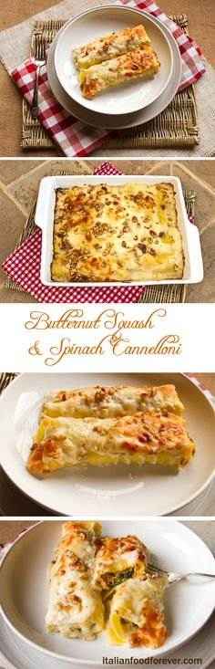Roasted Butternut Squash, Ricotta, & Spinach Cannelloni @italianfoodforever.com