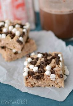 Hot Chocolate Krispie Treats by www.crazyforcrust.com | Like a glass of hot cocoa - in a krispie treat!