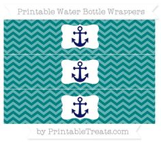 Teal Chevron  Nautical Water Bottle Wrappers