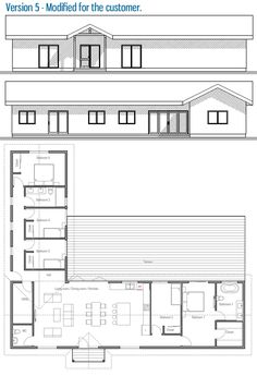 Modified House Plan / Customer Home Design House Layout Plans, New House Plans, House Layouts, House Floor Plans, The Plan, How To Plan, Flat House Design, L Shaped House Plans, Flat Roof House