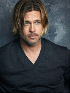 Brad Pitt, male actor, celeb, beard, powerful face, intense eyes, long hair style, portrait, photo