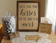 Guess How Many Kisses For The Soon-To-Be Mrs. Instant Download Game Do this activity/game with your family and friends at your bridal/wedding shower by having them guess the number of candies/kisses in a jar. ~ HOW TO DOWNLOAD YOUR FILE ~ Your files will be available immediately