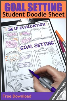 "Goal Setting for Students - Doodle Style Self Evaluation and SMART Goal Planning Sheet ""Goals are the principles insights essential truths or ahas! that students should walk away with"" pg 46 School Goals, Student Goals, Student Data Tracking, High School Art, High School Students, Planning School, Goal Planning, School Planner, Goals Planner"