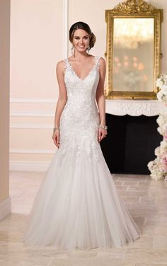 6106 Beaded Lace and Tulle Satin Wedding Dress by Stella York