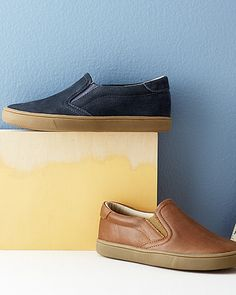 Boys' Leather Slip-On Sneakers by Old Soles, Sizes 11-4