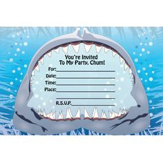 Shark birthday invitation Birthdays for boys Pinterest Shark
