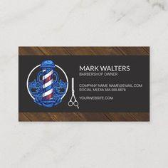 Barber Shop | Barber Pole | Wood Trim Business Card Barber Business Cards, Hairstylist Business Cards, Elegant Business Cards, Cool Business Cards, Professional Business Cards, Business Card Design, Hair Stylist Gifts, Hair Stylists, Wood Trim