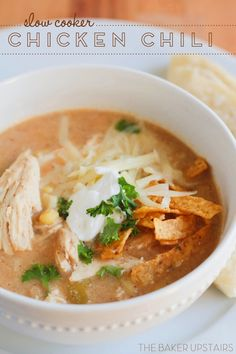 Slow cooker chicken chili - super easy to make and incredibly flavorful! ww.thebakerupstairs.com