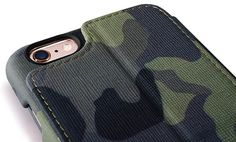 iCarer iPhone 6 Plus/6S Plus Camouflage Wallet Genuine Leather Case With Three Credit Cards Slot Design
