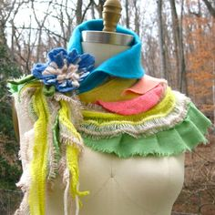 Colorful Capelet/ Stole/ Shrug with  tattered by amberstudios