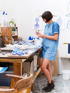 Sydney ceramic artist Alex Standen in her Alexandria studio. Photo – Nikki To for The Design Files.