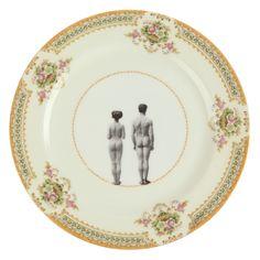 'models' dinner plate, couple, duo, nus, nudité, humour, assiette, vintage