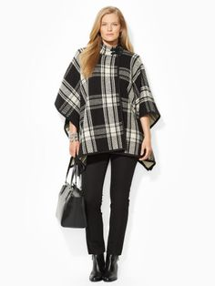 Plaid Wool-Blend Poncho - Lauren Woman Crewnecks - RalphLauren.com This Style of Poncho is flattering for All Apple Body Types, (women with Big breasts)