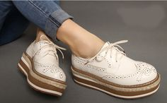 Womens Lace Up High Platform Wedge Heels Brogues Creepers Shoes Oxford Pumps Siz | eBay