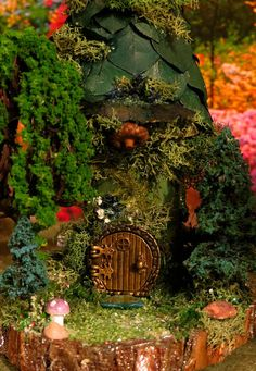 Fairy House Teal Reader Miniature House by WoodlandFairyVillage, $32.99