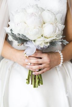 Pure White Peony Bouquet -- More of the wedding here: http://www.StyleMePretty.com/australia-weddings/2014/04/07/elegant-wedding-queensland-wedding-at-palazzo-versace/  InfinityFaithPhotography.com