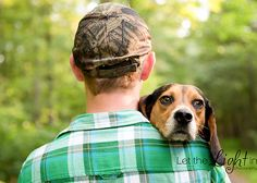 Senior Portrait with his hunting dog looking over his shoulder, unique! Let the Light in Photography