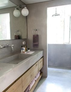Concrete and wood in Master bathroom