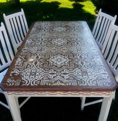 (love the stencilling!) ...This dining set is custom chalk painted in palest pink then sanded, lightly distressed and waxed for lasting durability. The table top is stenciled, stained and poly sealed